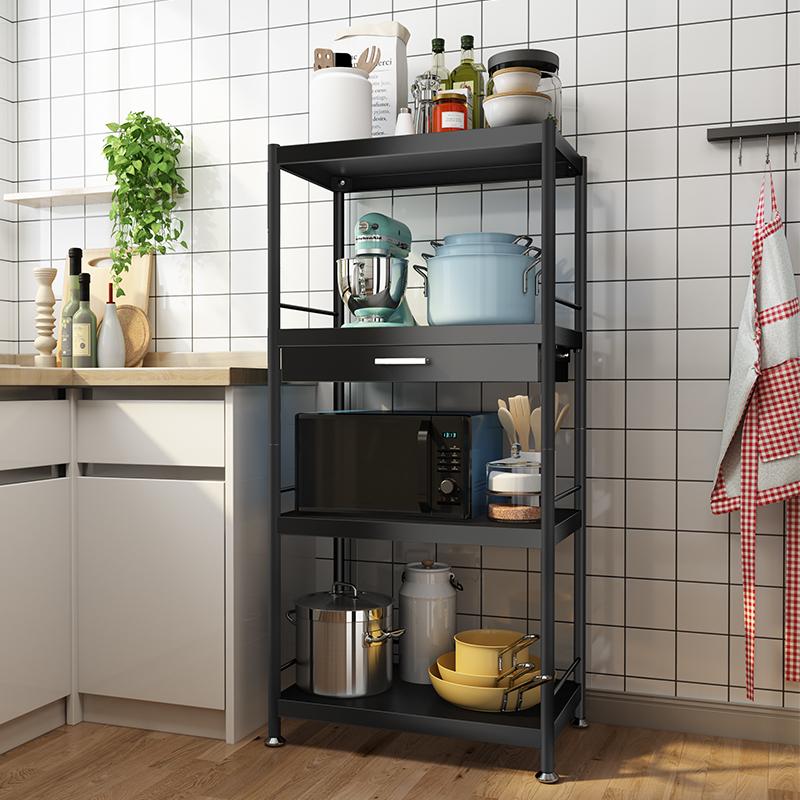 厨房落地多层微波炉置物架带抽屉烤箱锅具储物收纳家用货架子橱柜