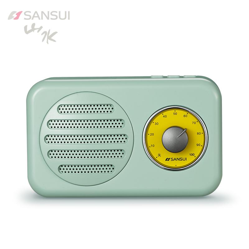Sansui-山水 T1无线蓝牙音箱小音响重低音收音机插卡手机复古迷你家用户外便携式智能语音提示电脑播放器
