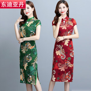 Middle and old aged women's floral short-sleeved skirt mother dress summer large size retro cheongsam long dress