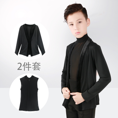Children's Latin Dance Costume Boys'Gongfu Suit Two Kids' Long Sleeve Competition Costume Boys'Dance Costume