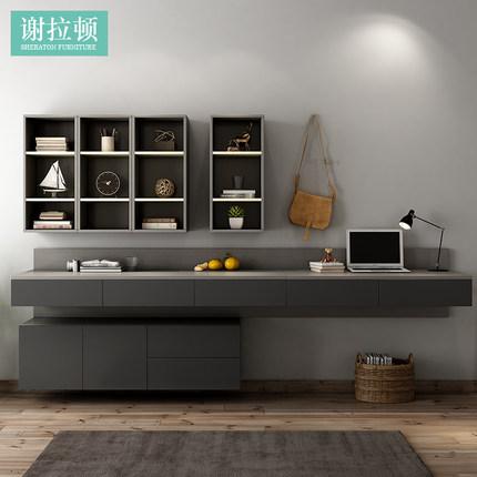北欧简约现代直角书桌书架书柜套装高级黑卧室写字桌台式电脑桌