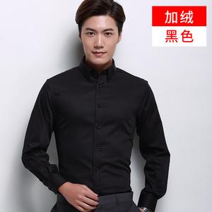 丝光棉长袖衬衫男加厚加绒保暖衬衫男商务正装职业装纯色纯棉衬衣