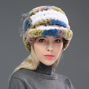 帽子女冬季中老年鸭舌帽子保暖护耳獭兔毛狐狸毛线冬天妈妈帽围巾