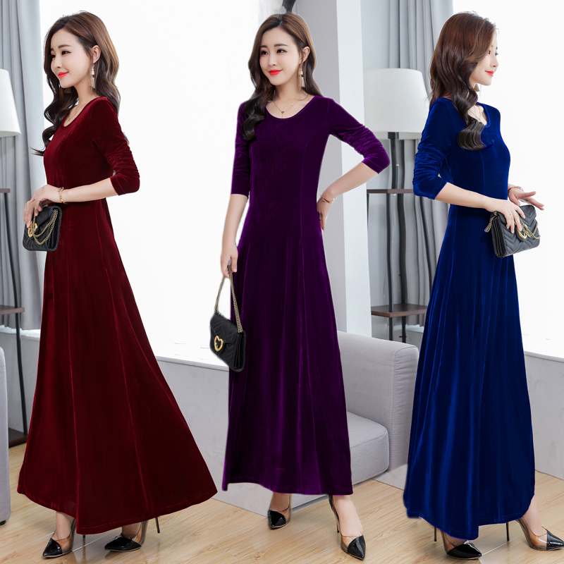 Real Shot Autumn And Winter New Gold Velvet Dress Round Neck Long Sleeve Swing Evening