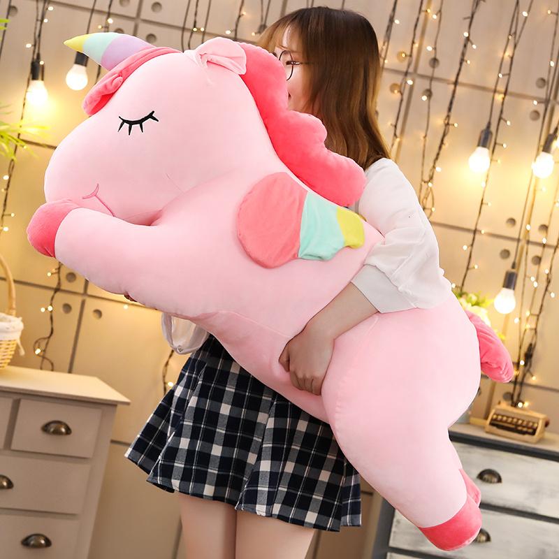 抱着睡觉的娃娃毛绒可爱独角兽公仔男朋友抱枕玩具偶送女生日礼物