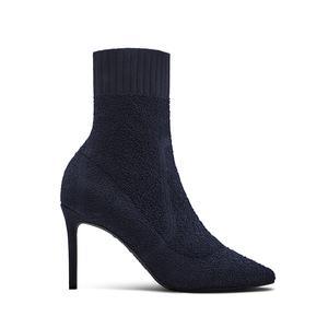 烫社交女鞋2019春季新款深蓝色弹力女靴针织性感高跟尖头短靴