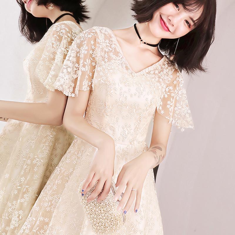 洋装小礼服女2018新款秋季气质名媛宴会派对伴娘服晚礼服优雅短款