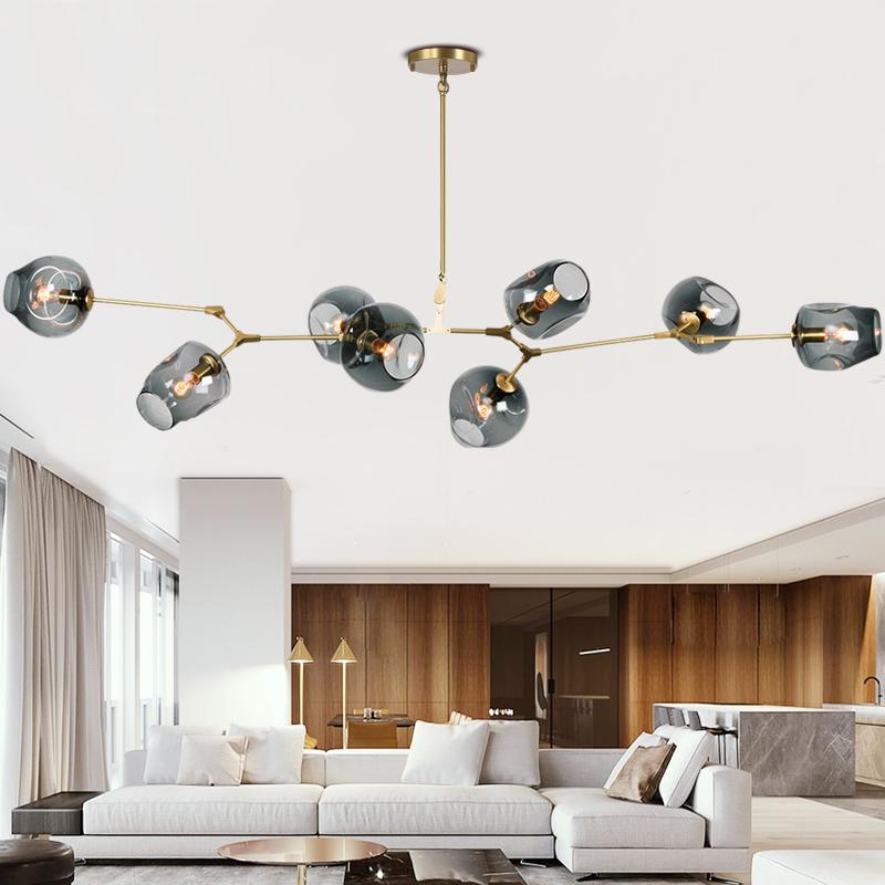 全铜分子灯北欧客厅吊灯餐厅黄铜轻奢个性艺术后现代简约魔豆灯具