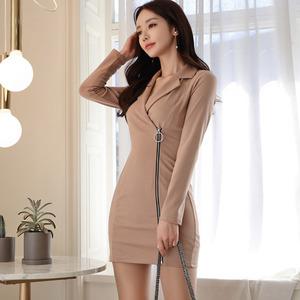 【高档女装】7332#新款韩版女装OL气质西装领长袖修身拉链收腰时尚包臀连衣裙