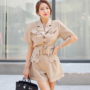 7694#2020夏装新款韩版OL气质西装领单排扣腰带收腰休...