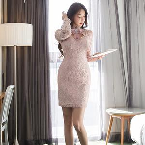 PQ78810# 春装新款韩版气质立领蝴蝶结修身复古蕾丝包臀时尚连衣裙女