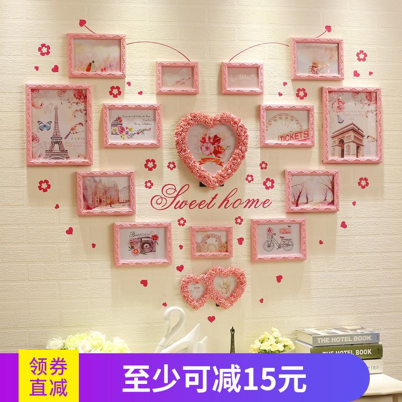 欧式心形照片墙 实木客厅卧室温馨装饰ins背景墙创意挂墙相框组合