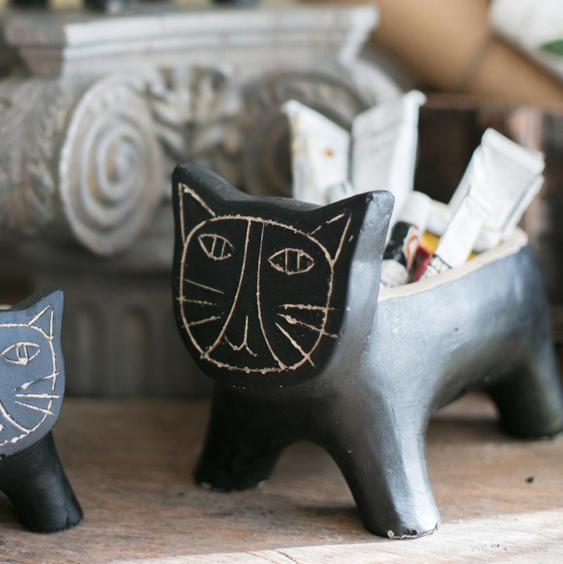掬涵 黑猫咪 抽象艺术花盆花器装饰收纳 杂货花园园艺摆件礼物