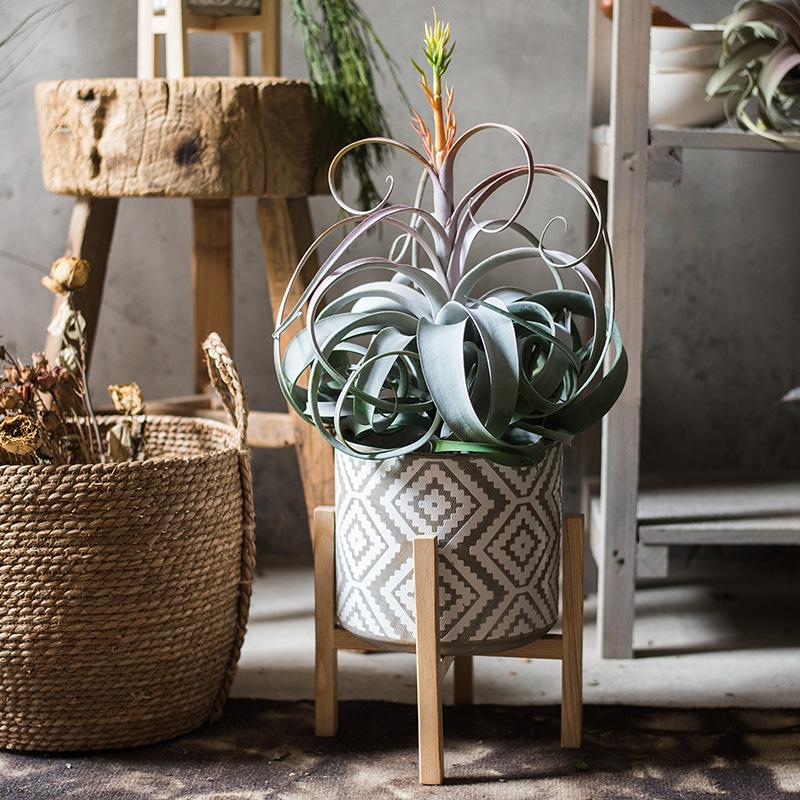掬涵 迷因陶瓷花盆 实木支架 花器装饰器皿摆件素雅日式北欧