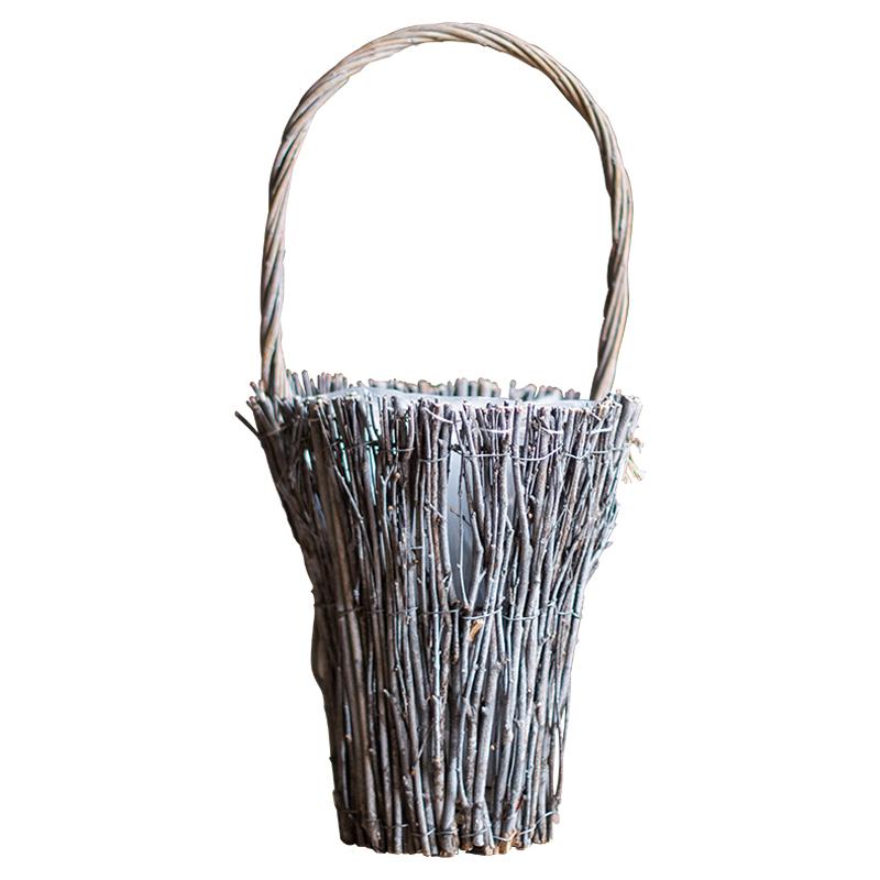 掬涵  森系复古花篮花盆花器 装饰木片木棒原木 ZAKKA北欧美式