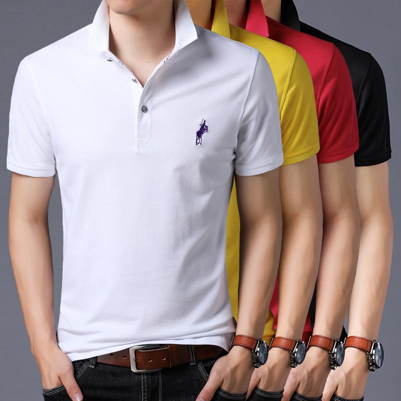 夏季男装新款青年男士短袖t恤翻领POLO衫保罗大码男体桖0PLAYBOY0