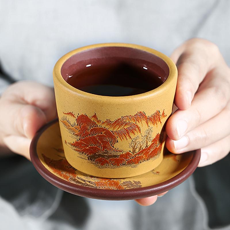 名家宜兴紫砂杯功夫茶具泥绘山水小口杯杯垫套杯主人杯精品品茗杯