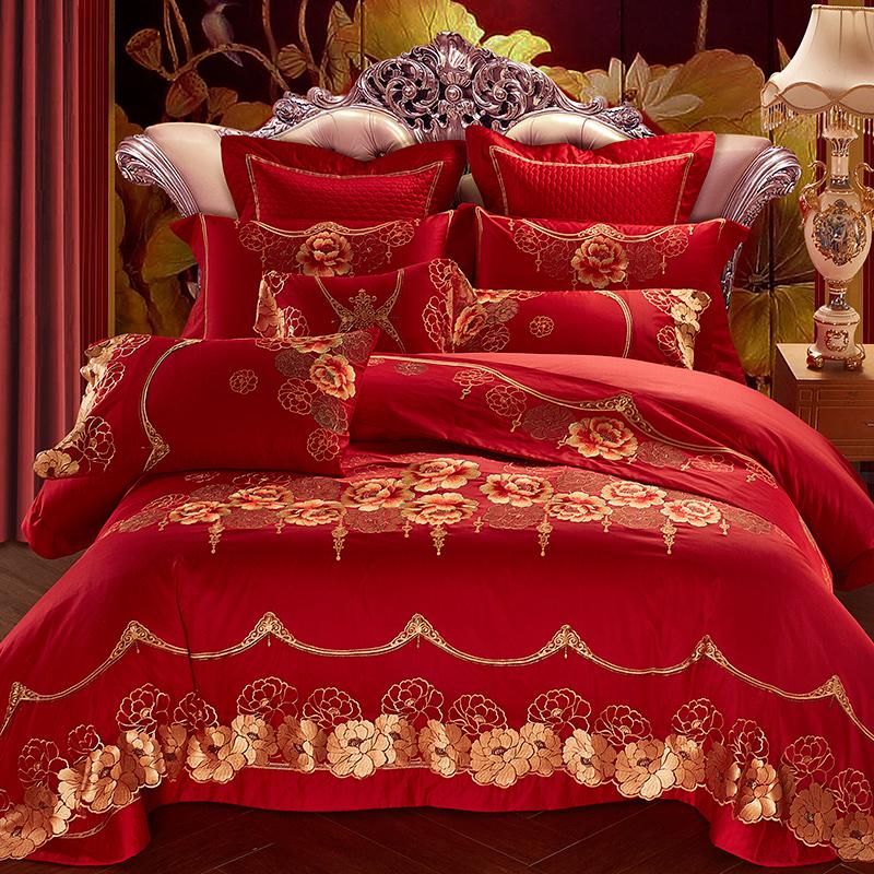 祁氏全棉婚庆四件套大红色蕾丝结婚床上用品新婚婚庆六十多件套