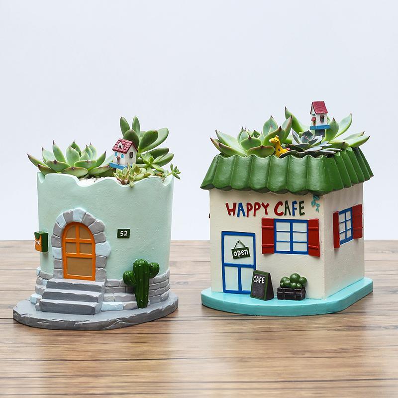 创意复古地中海田园小房子多肉花盆桌面微景观装饰摆件植物小花器