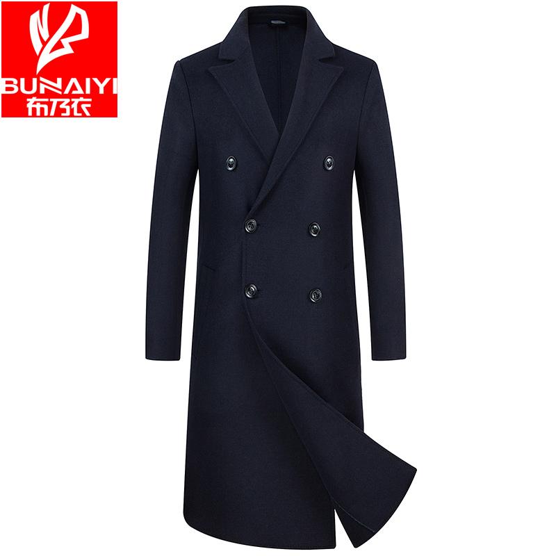 布乃衣100%纯羊毛双面毛呢大衣男中长款过膝呢绒秋冬季外套风衣潮