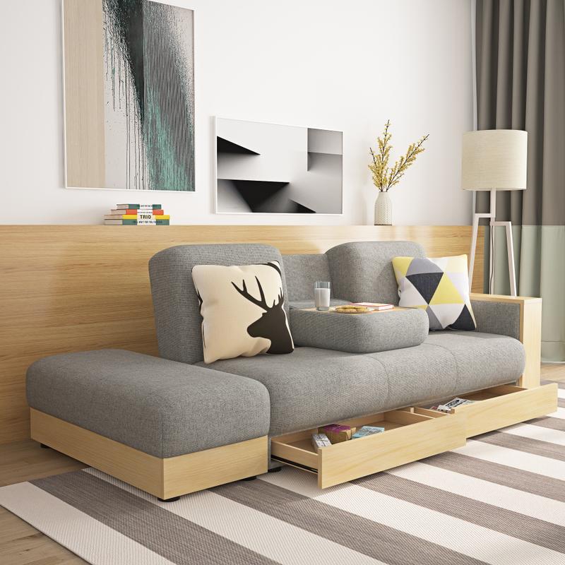 现代简约小户型客厅三人沙发布艺可拆洗整装多功能储物沙发床组合