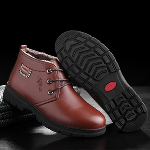 The old man winter warm male shoes black shoes with thickened cashmere male Korean high shoes work shoes
