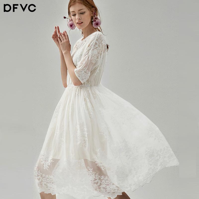 dfvc2018春新款减龄仙气真丝雪纺绣花连衣裙中长款高腰显瘦a字裙