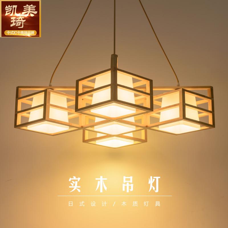 日式吊灯实木榻榻米吊灯北欧木质创意客厅卧室餐厅灯东南亚原木灯