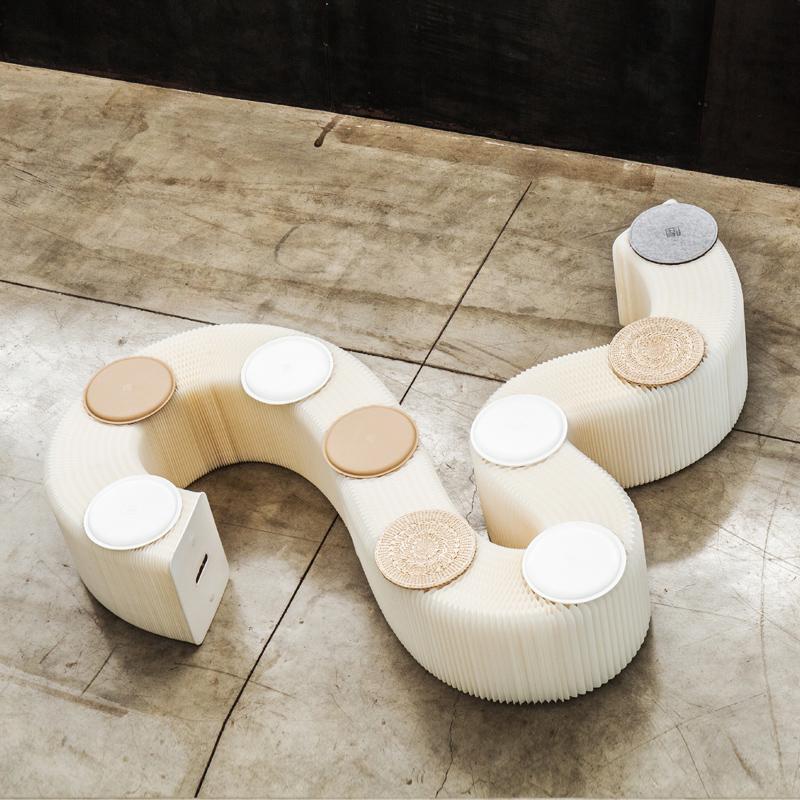 十八纸 创意牛皮纸长凳时尚设计咖啡厅家用餐凳北欧凳子白色家具