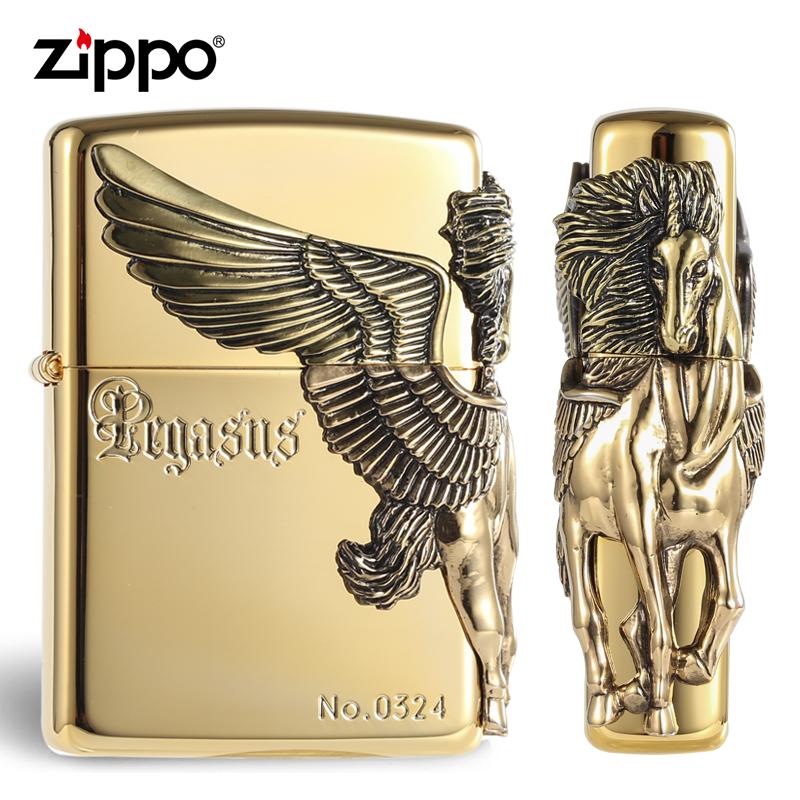 正品ZIPPO打火机限量版 黄铜镀金色三面浮雕侧天马之翼 飞马天马