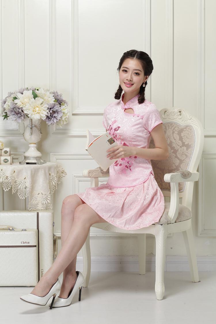 唐装日常女装旗袍两件套 时尚改良修身刺绣少女分体套装旗袍裙图片