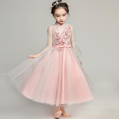 公主裙女童晚礼服中国风儿童礼服古筝演出服模特走秀婚纱裙蓬蓬秋