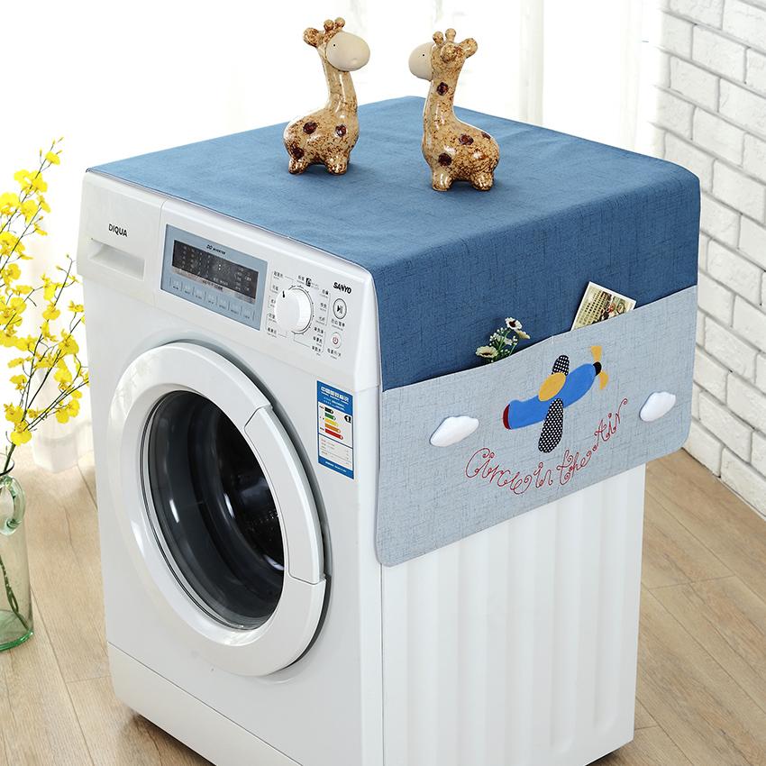 布艺滚筒洗衣机罩盖布盖巾卡通多用收纳床头柜韩版冰箱防尘罩