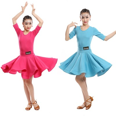 Girls Green Blue Latin dancing dress Kids Ballroom Salsa Dance wear Outfits Children's Party Stage wear costumes long sleeve