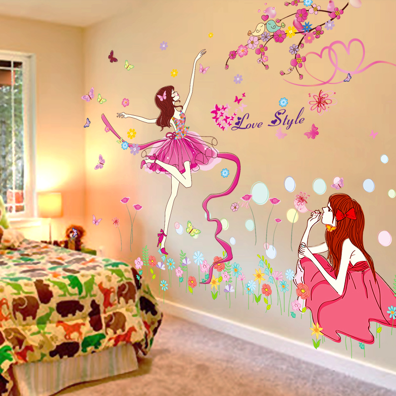 3D wall stickers stickers wallpaper self-adhesive bedroom warm girl ...
