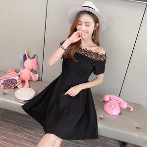 实拍现货18夏季新款性感纯色露肩蕾丝一字领荷叶裙仙女裙连衣裙