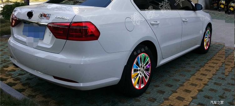 专用于改款大众13款朗逸 轮毂贴纸 改装车贴 电镀轮胎圈保护贴膜