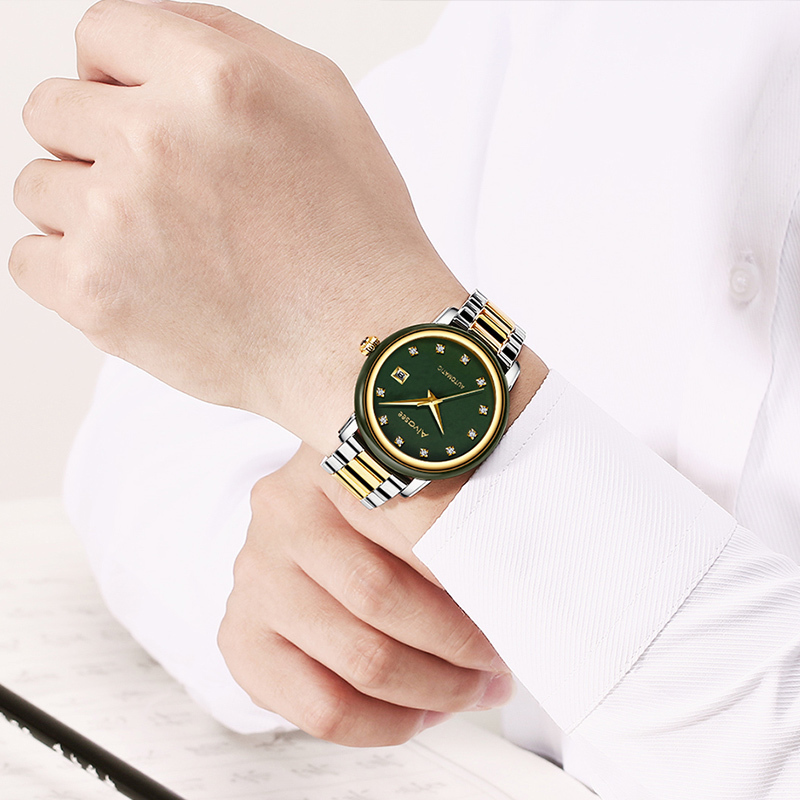 艾华仕手表男机械表和田青玉全自动机械男表精钢防水时尚潮流手表