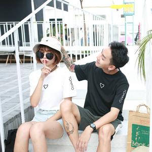 情侣装男女短袖爱心刺绣宽松半袖T恤