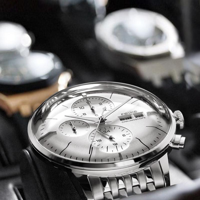 飞克手表男士机械表皮带自动商务镂空防水男表潮2018新款正品腕表