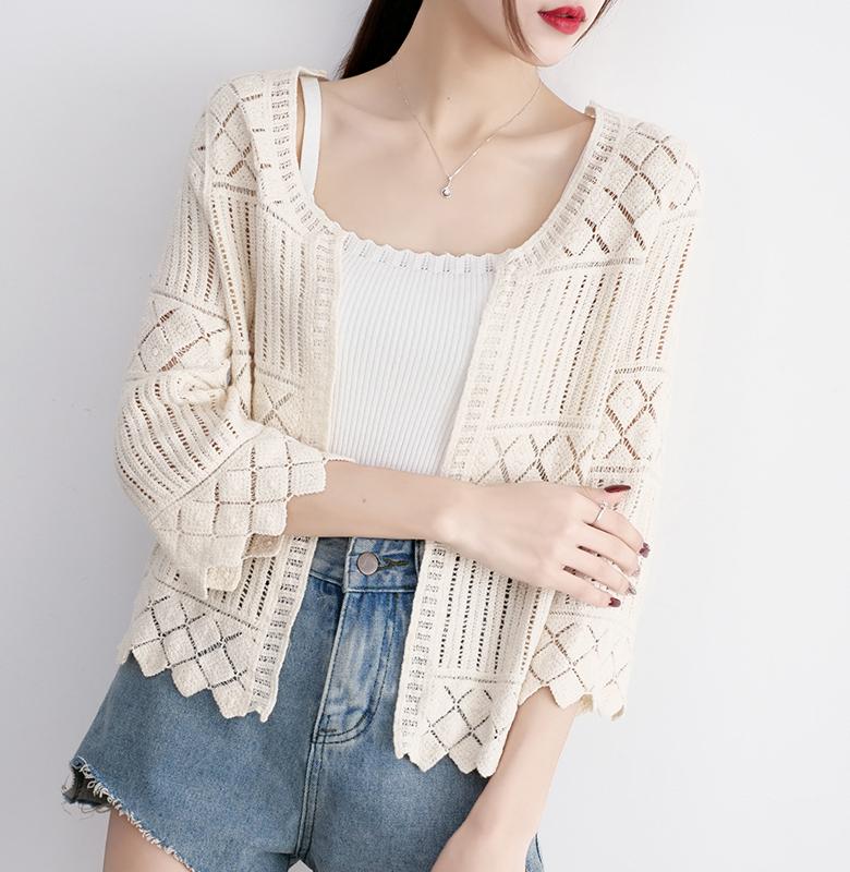 宽松镂空针织衫外套