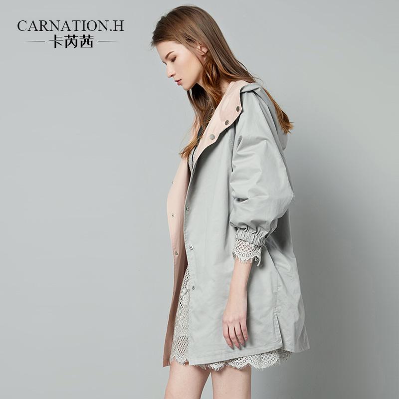 卡芮茜 2018秋装新款女工装春秋风衣中长款chic宽松 两面穿外套女