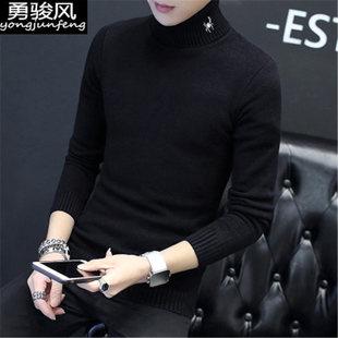 【男装】冬季新款加厚男士高领毛衣男韩版潮流个性男装情侣保暖针织衫修身