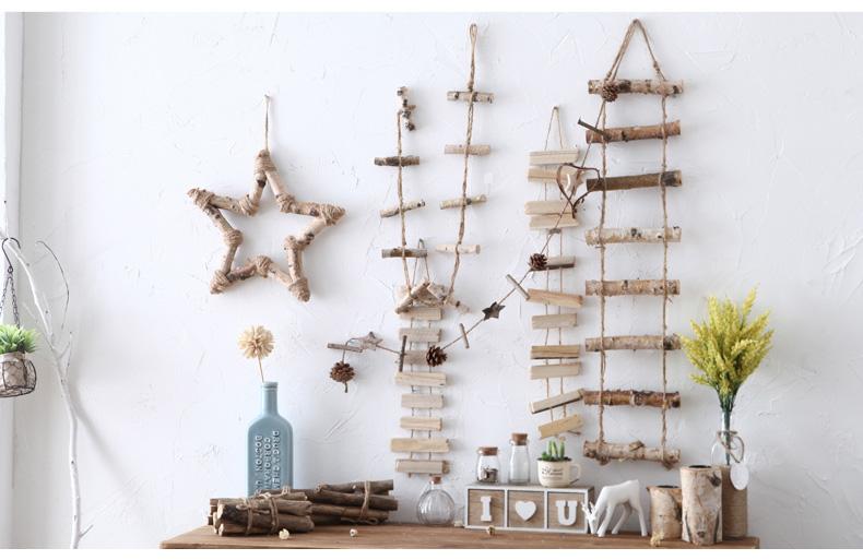 美式创意木制麻绳手工墙上壁饰咖啡厅服装店酒吧店铺墙面装饰挂件图片