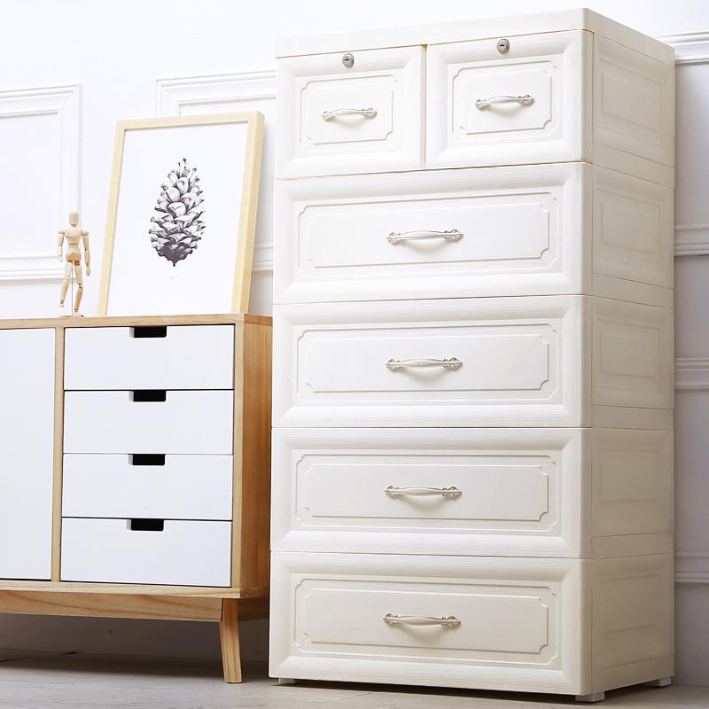 多层欧式塑料抽屉式收纳柜储物柜儿童整理箱宝宝衣柜婴儿五斗柜子