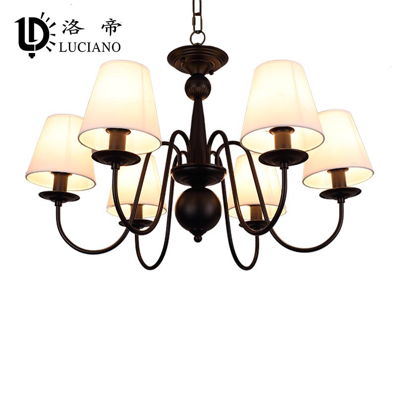 洛帝 美式吊灯现代简约客厅卧室北欧式铁艺餐厅乡村田园创意灯具图片