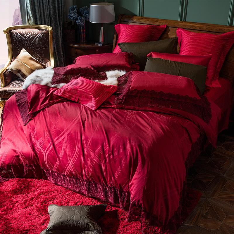 YOLANNA欧恋纳 欧式床上用品婚庆四件套大红蕾丝花边结婚YT5342