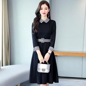 2020秋季长袖连衣裙娃娃领甜美小清新赫本小黑裙修身显瘦a字短裙