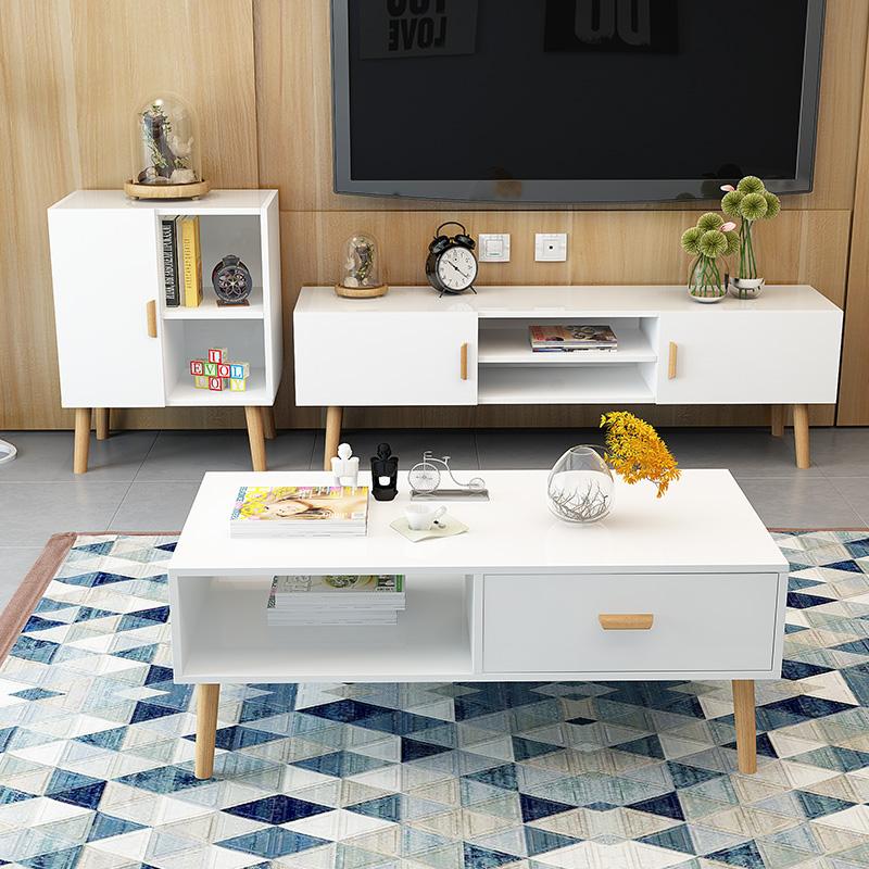 北欧简约现代电视柜茶几套装组合客厅简易组装实木小户型白色地柜