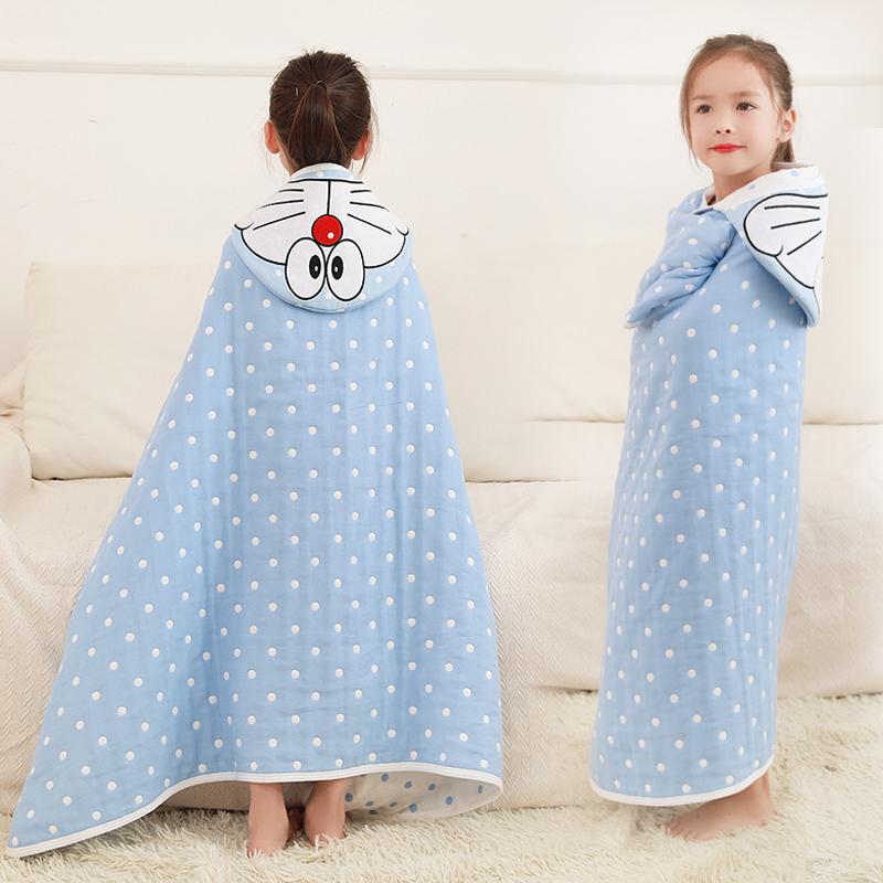 婴儿儿童浴巾斗篷纯棉纱布吸水带帽卡通超柔软被子宝宝浴袍新生儿